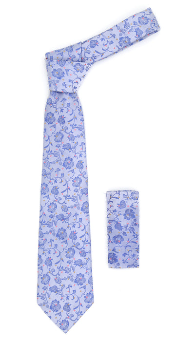 Geometric Baby Blue Necktie w. Outline Grey & Dark Blue Circles w. Hanky Set - Ferrecci USA