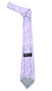 Lavender Geometric Necktie with Handkerchief Set