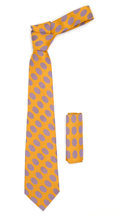 Men's Orange Necktie with Stylish Purple Dots - Ferrecci USA