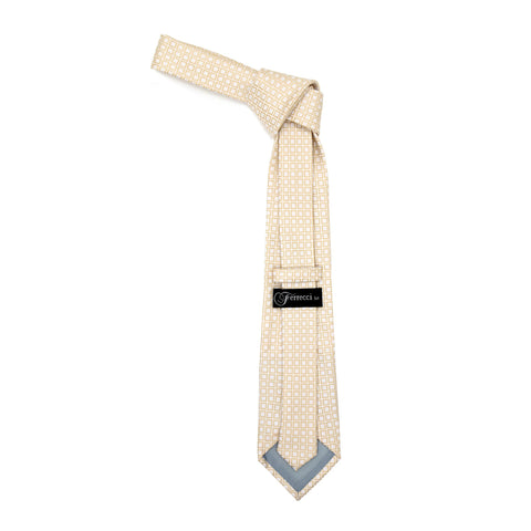 Beige Geometric Necktie with Handkerchief Set