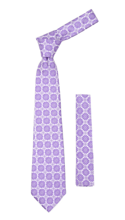 Floral Lavender Necktie with Handkderchief Set - Ferrecci USA