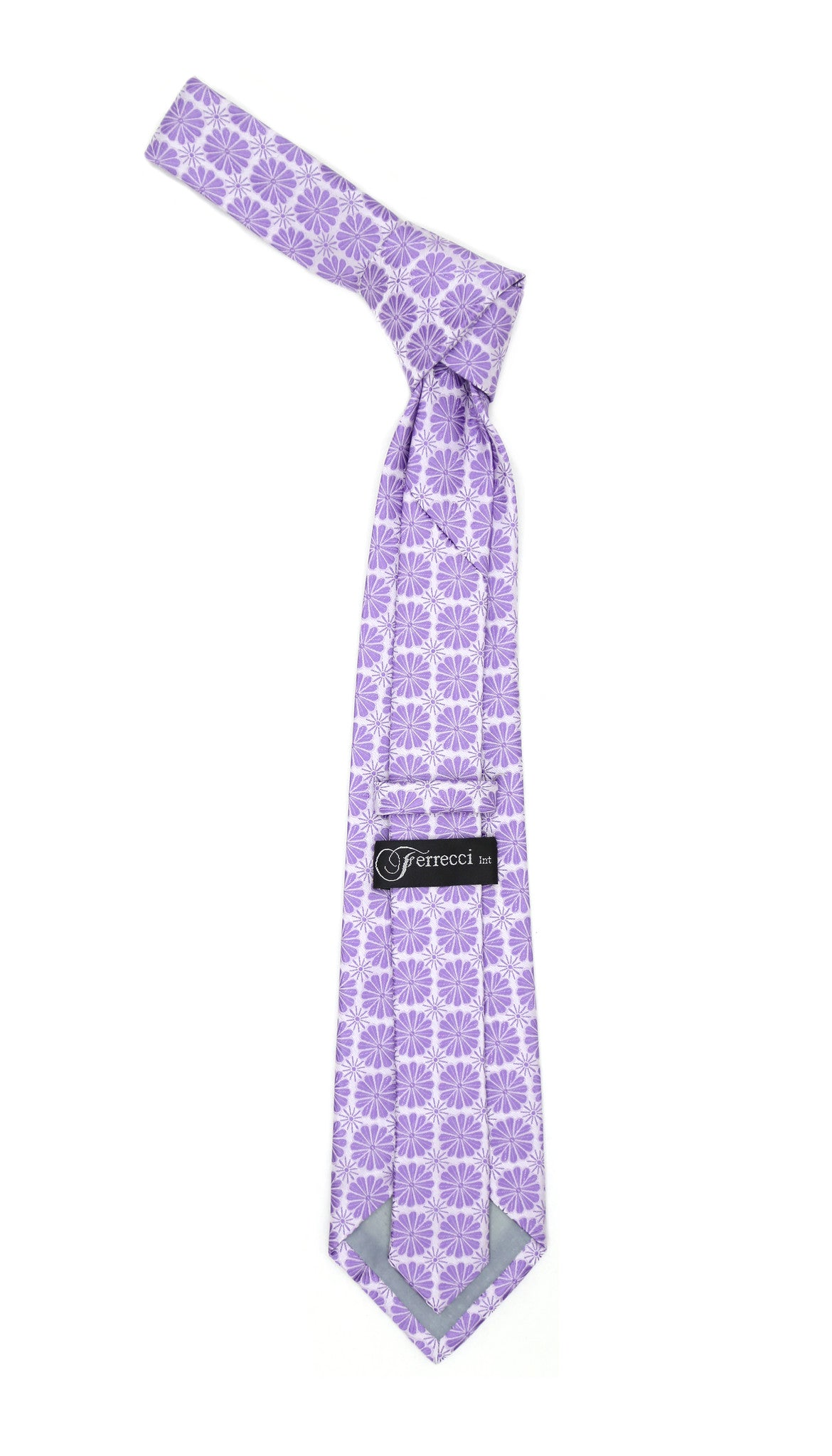 Floral Lavender Necktie with Handkderchief Set