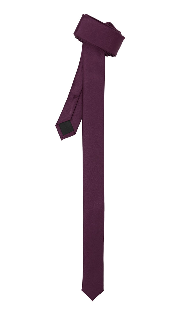 Super Skinny Dark Purple Shiny Slim Tie - Ferrecci USA