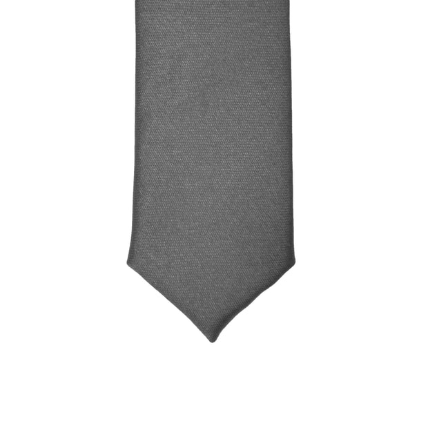 Super Skinny Grey Shiny Slim Tie - Ferrecci USA