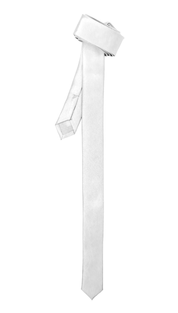 Ferrecci Super Skinny White Shiny Slim Tie