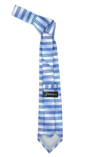 Microfiber Blue Silver Striped Tie and Hankie Set
