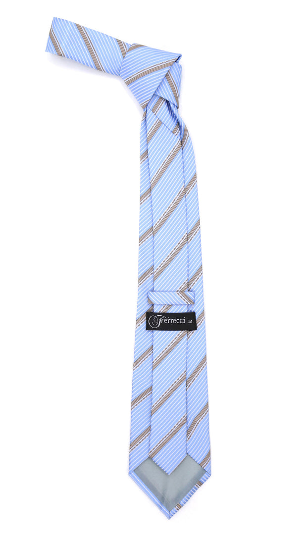 Microfiber Baby Blue Striped Tie and Hankie Set - Ferrecci USA
