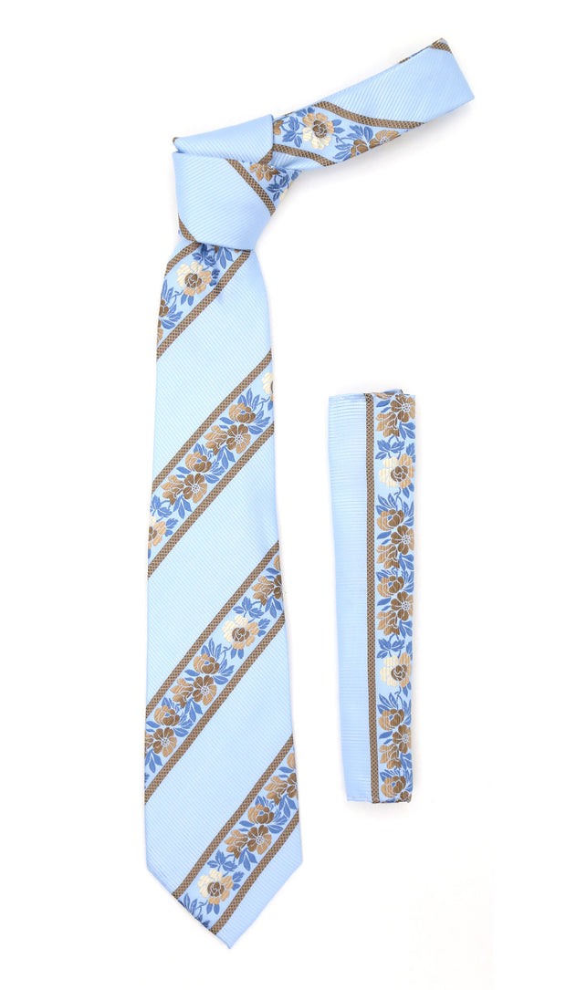 Microfiber Baby Blue Floral Striped Tie and Hankie Set - Ferrecci USA