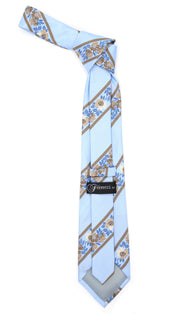 Microfiber Baby Blue Floral Striped Tie and Hankie Set