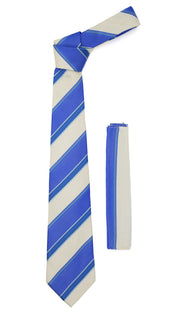 Microfiber Blue Beige Striped Tie and Hankie Set - Ferrecci USA