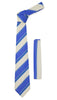 Ferrecci Mens Microfiber Striped Tie and Hankie Set