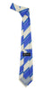 Microfiber Blue Beige Striped Tie and Hankie Set