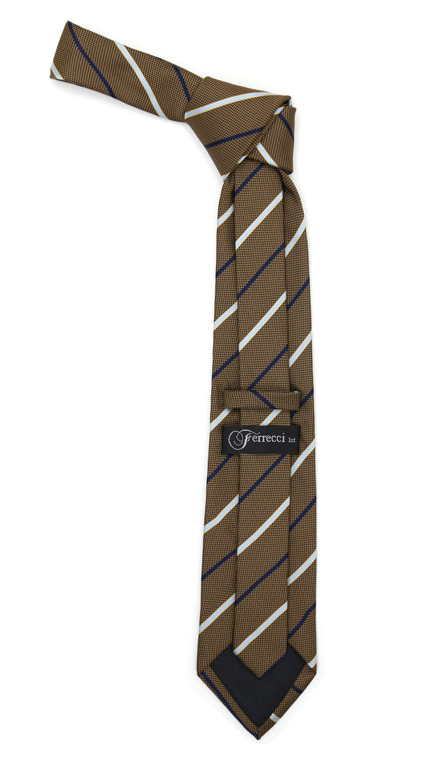 Microfiber Brown Baby Blue Striped Tie and Hankie Set