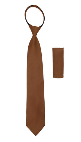 Satine Brown Zipper Tie with Hankie Set