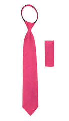Ferrecci Satine Fuchsia Zipper Tie with Hankie Set