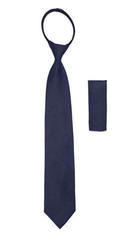 Satine Navy Zipper Tie with Hankie Set