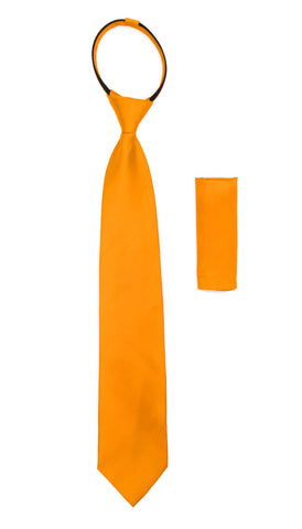 Satine Orange Zipper Tie with Hankie Set