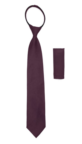 Satine Plum Zipper Tie with Hankie Set