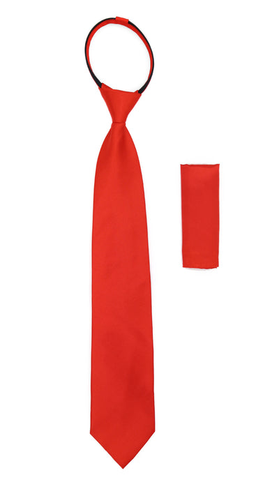 Satine Red Zipper Tie with Hankie Set - Ferrecci USA