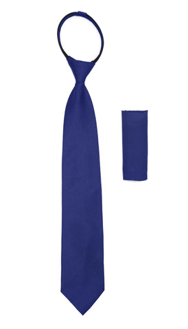 Satine Royal Blue Zipper Tie with Hankie Set
