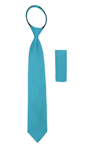 Satine Turquoise Zipper Tie with Hankie Set