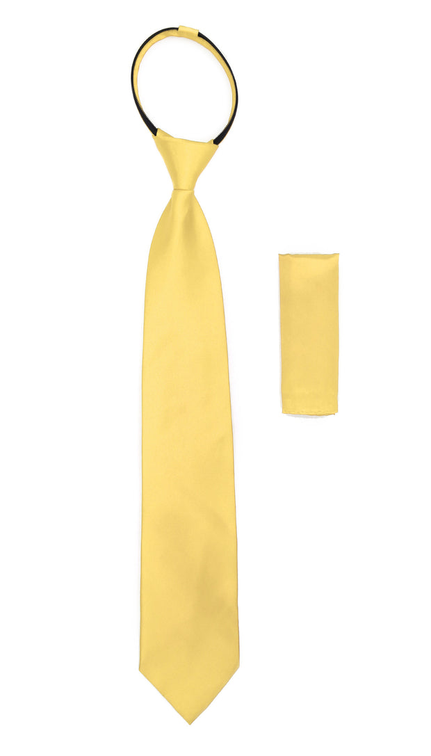 Ferrecci Satine Yellow Zipper Tie with Hankie Set