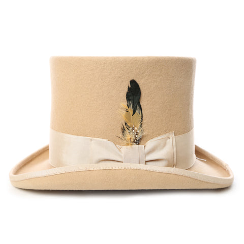 Premium Wool Beige Top Hat