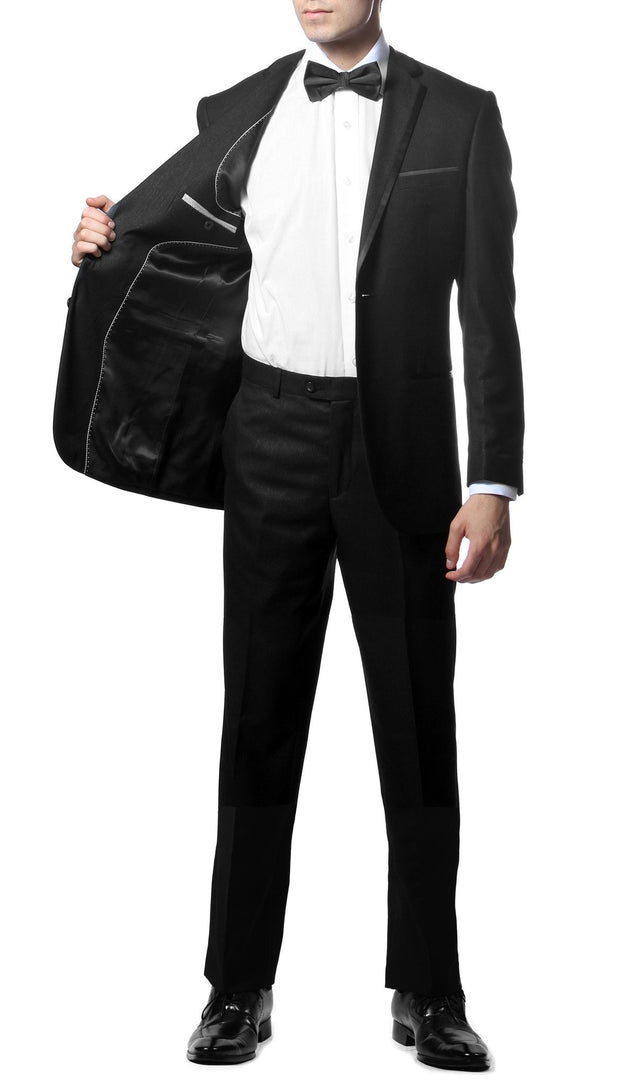 Celio Black Slim Fit Notch Lapel 2 Piece Tuxedo - Ferrecci USA