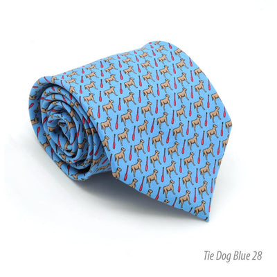Dog Provence Blue Necktie with Handkerchief Set