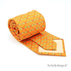 FHY INC orange firefly print tie with handkerchief