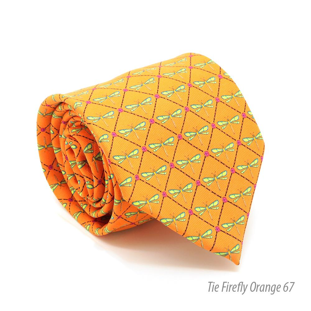 FHY INC orange firefly print tie