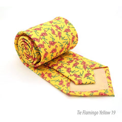 FHY INC yellow flamingo print tie with handkerchief