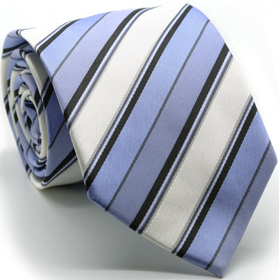 Mens Dads Classic Purple Striped Pattern Business Casual Necktie & Hanky Set U-1 - Ferrecci USA