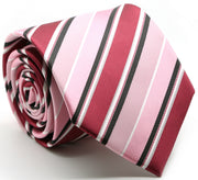 Mens Dads Classic Pink Striped Pattern Business Casual Necktie & Hanky Set U-3 - Ferrecci USA