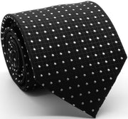 Mens Dads Classic Black Geometric Pattern Business Casual Necktie & Hanky Set UO-4 - Ferrecci USA
