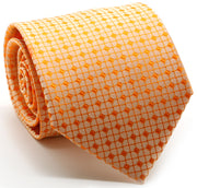 Mens Dads Classic Orange Geometric Pattern Business Casual Necktie & Hanky Set UO-5 - Ferrecci USA