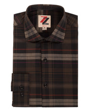 Brown Plaid Slim Fit Casual Shirt - Vale - Ferrecci USA