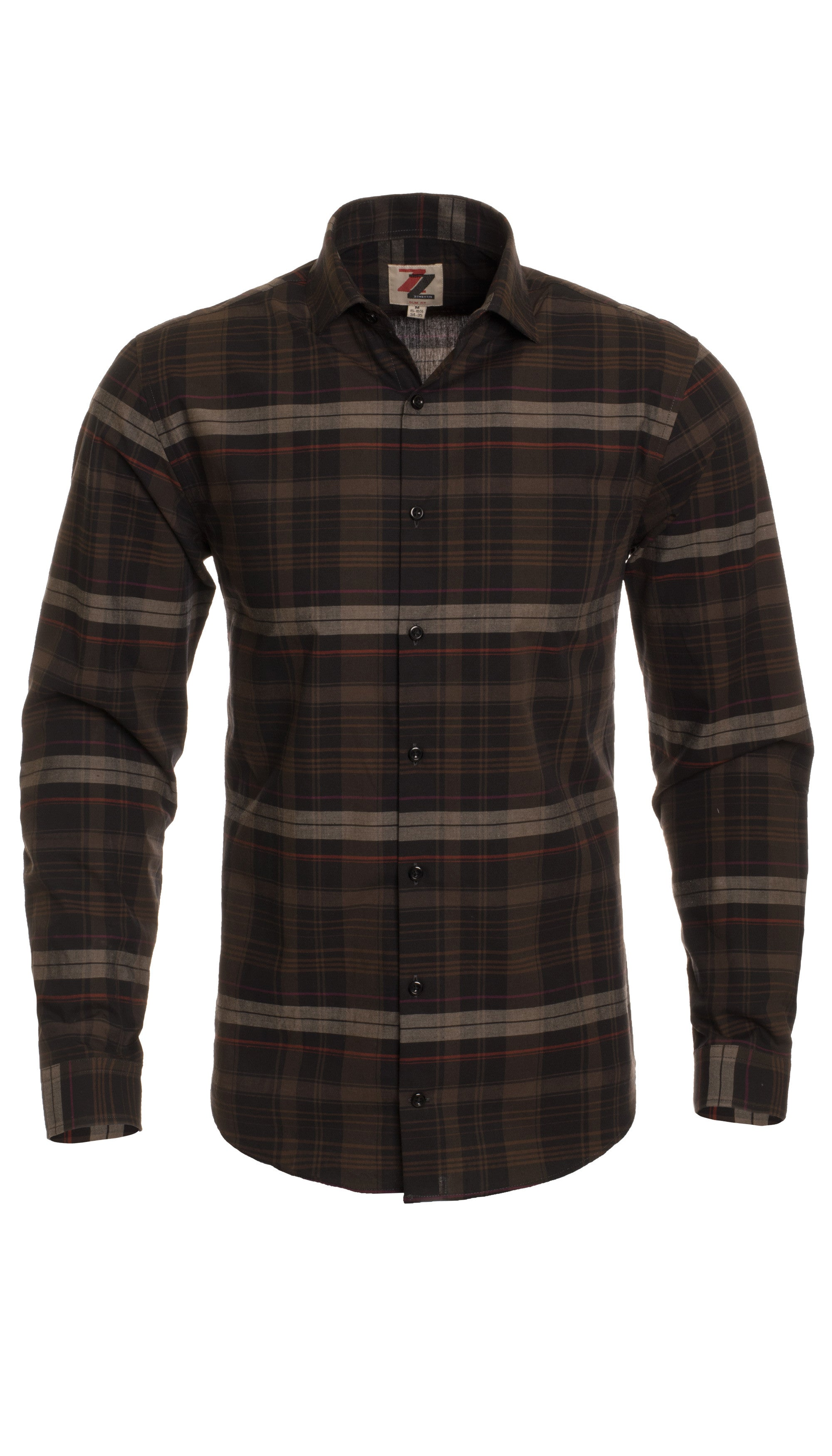 Brown Plaid Slim Fit Casual Shirt - Vale