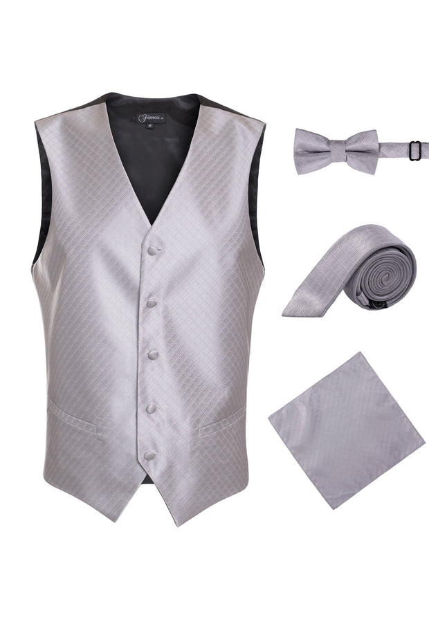 Ferrecci Mens 300-15 Grey Diamond Vest Set - Ferrecci USA