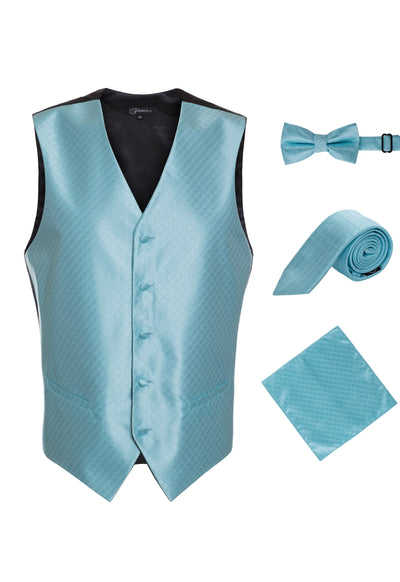 Ferrecci Mens  Turquoise Diamond Vest Set