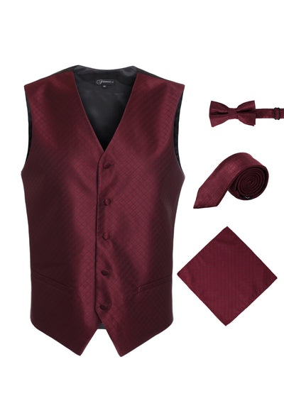 Ferrecci Mens 300-7 Dark Red Diamond Vest Set