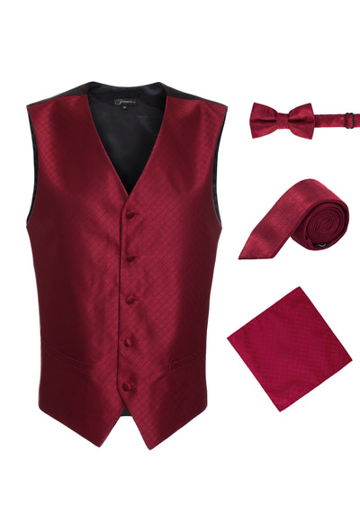 Ferrecci Mens Wine Diamond Vest Set