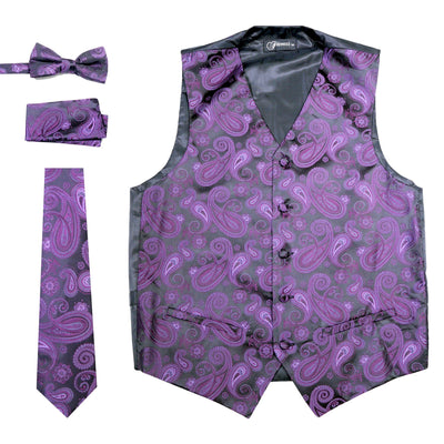 Ferrecci Mens  Purple/Black Paisley Wedding Prom Grad Choir Band 4pc Vest Set