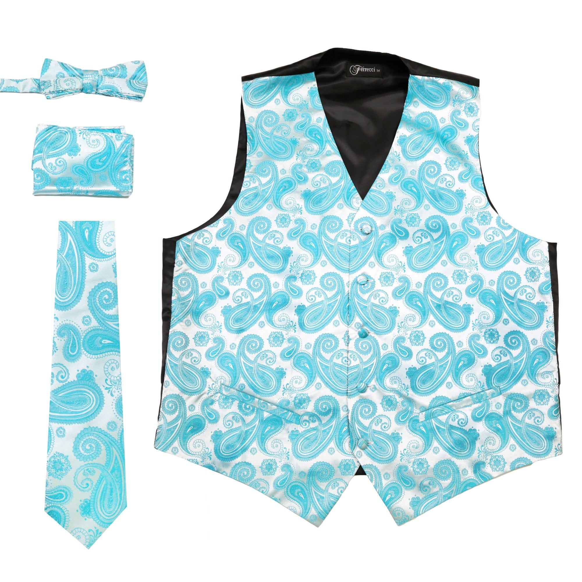 Ferrecci Mens Turquoise Paisley Wedding Prom Grad Choir Band 4pc ...