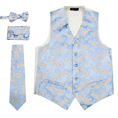 Ferrecci Mens Blue/Off-White Paisley Wedding Prom Grad Choir Band 4pc Vest Set - Ferrecci USA