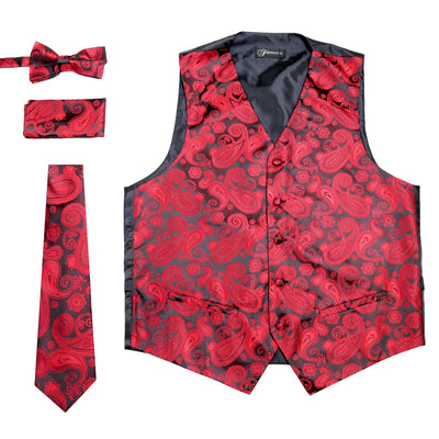 Ferrecci Mens Red/Black Paisley Wedding Prom Grad Choir Band 4pc Vest Set - Ferrecci USA