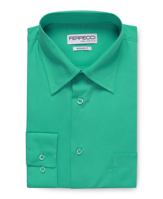 Virgo Turquoise Green Regular Fit Shirt - Ferrecci USA