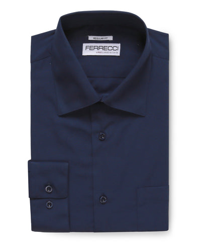 Virgo Navy Regular Fit Dress Shirt - Ferrecci USA