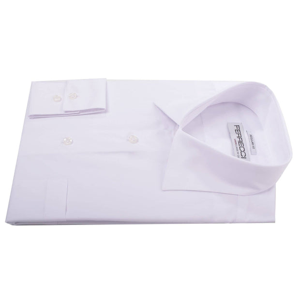 Virgo Snow Wht Reg Fit French Cuff Dress Shirt - Ferrecci USA