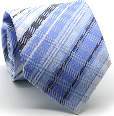 Mens Dads Classic Blue Striped Pattern Business Casual Necktie & Hanky Set VO-10